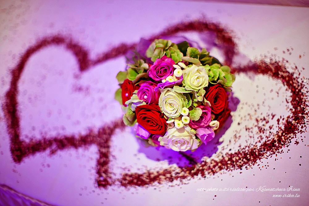 Bouquet de mariée à deux coeurs