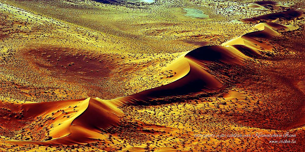 Vue sur les dunes d'un avion