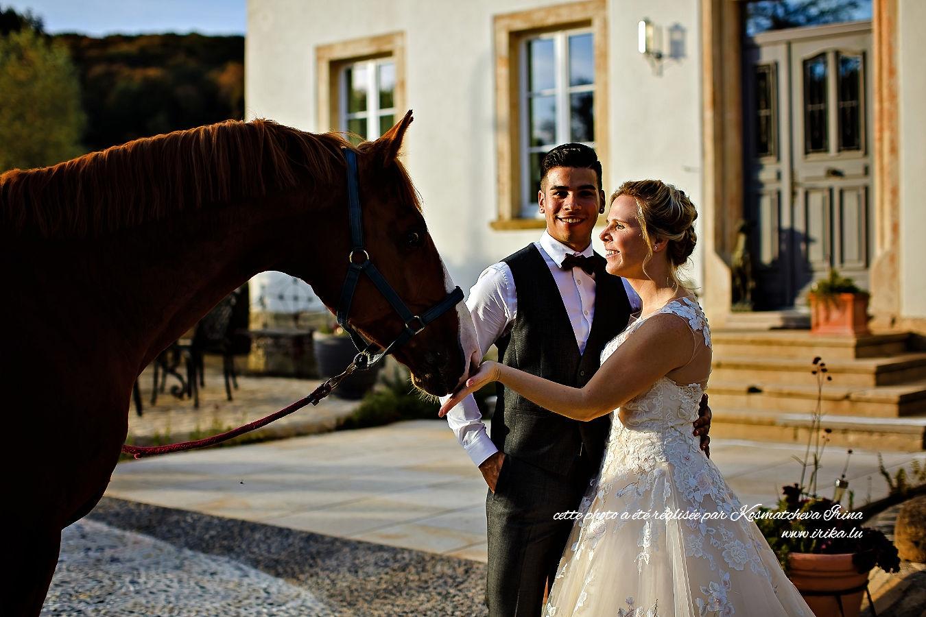 Avec un cheval de race