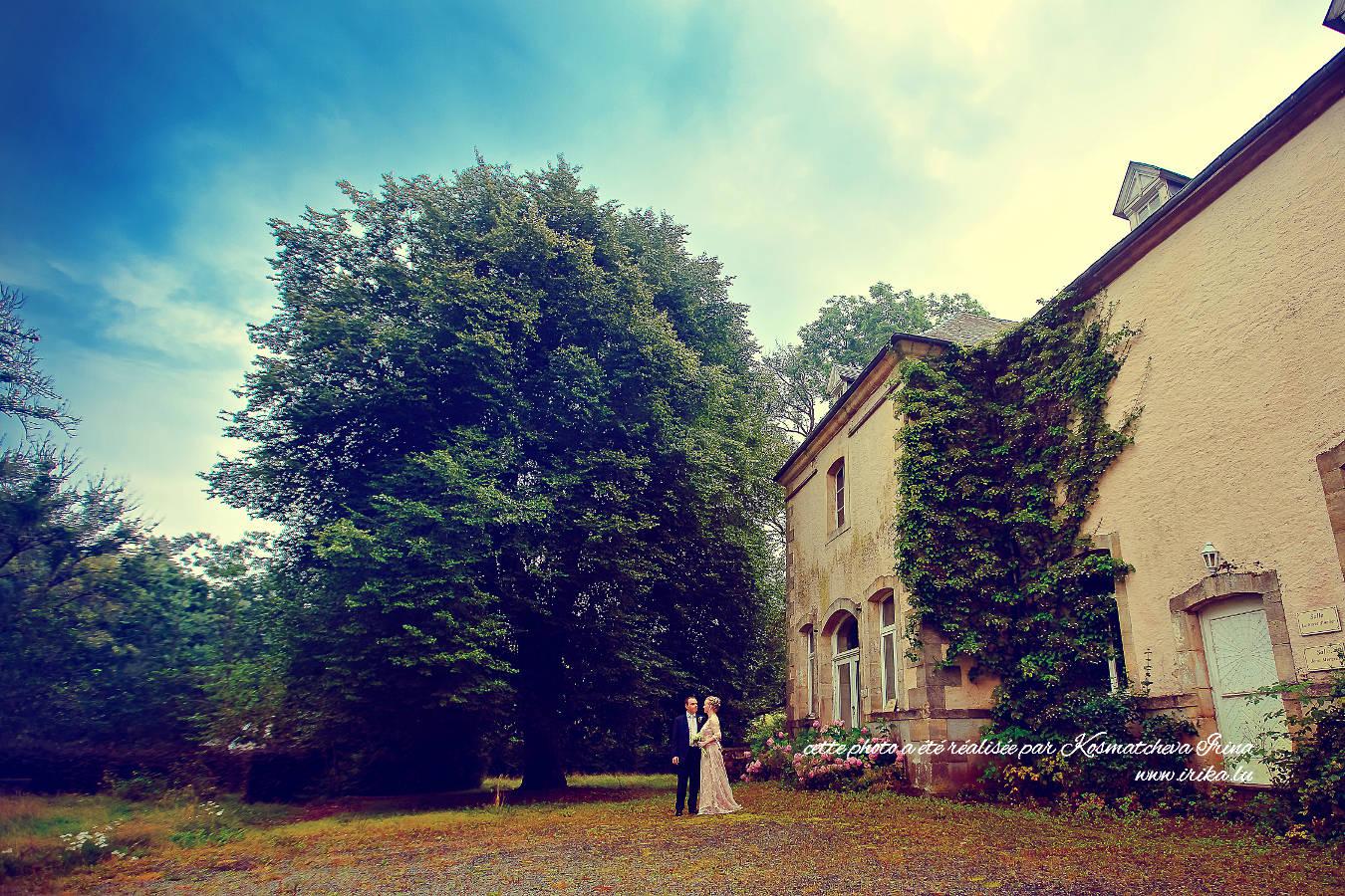 Les mariés dans une forêt enchantée