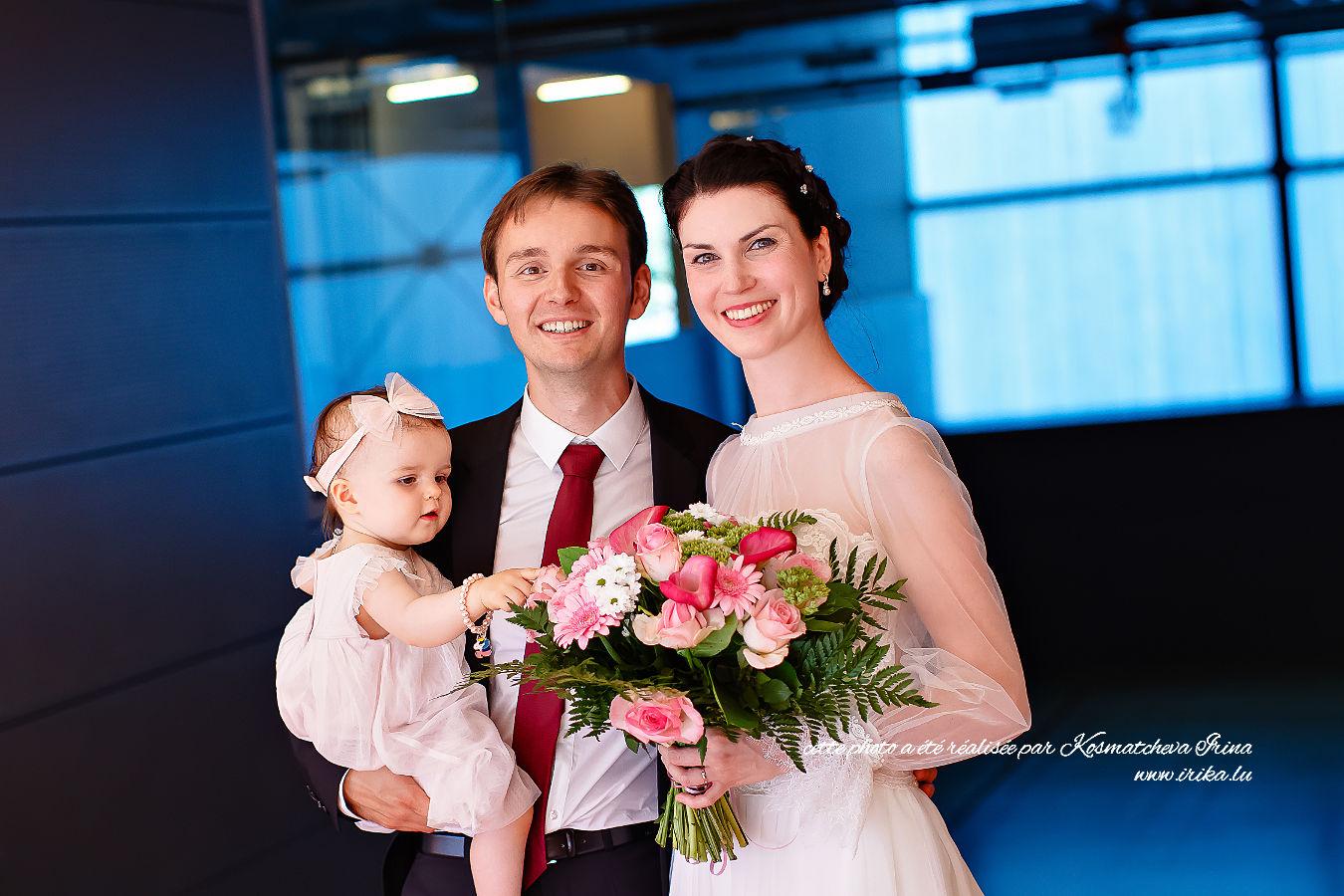 Belle photo de mariage à trois