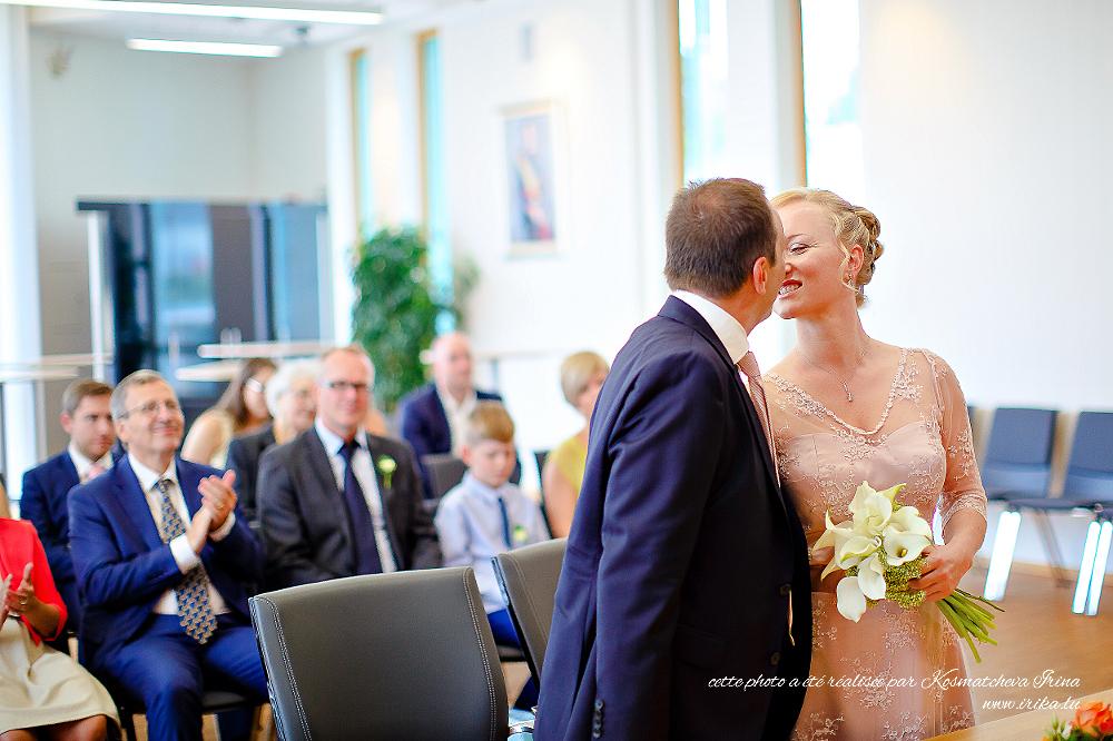 Premier bisous à titre des mariés