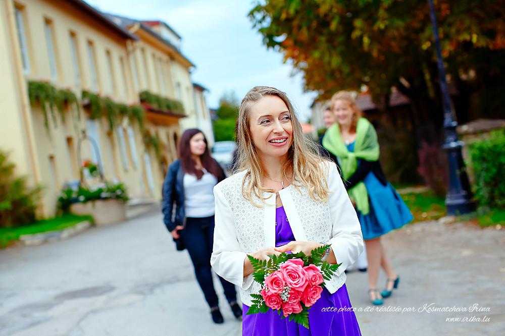 Bouquet de mariée aux roses roses