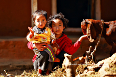 Deux enfants avec chèvre